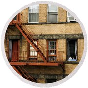 Fire Escapes - Nyc Round Beach Towel