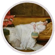 Girl In A White Dress Resting On A Sofa Round Beach Towel