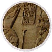Karnak Egypt Hieroglyphics Round Beach Towel