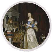 Lady At Her Toilette Round Beach Towel by Gerard ter Borch