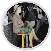 Lady In A Diner Round Beach Towel by Andrew Fare