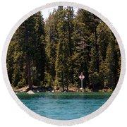 Lake Tahoe Sugar Pine Point Light Round Beach Towel