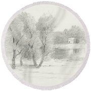 Landscape - Late 19th-early 20th Century Round Beach Towel