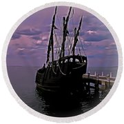 Notorious The Pirate Ship 5 Round Beach Towel