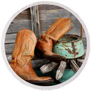 Old Cowboy Boots Round Beach Towel