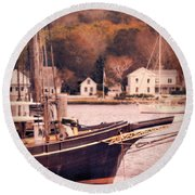 Old Ship Docked On The River Round Beach Towel