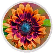 Orange Flowers In Their Buttonholes Round Beach Towel