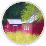 Peaceful Country Barn And Meadow Round Beach Towel