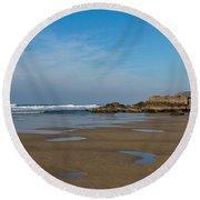 Porthtowan Cornwall Round Beach Towel