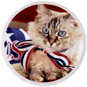 Portrait Of A Patriot Round Beach Towel