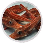 Red Cherry Shrimp In The Market Round Beach Towel