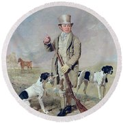 Richard Prince With Damon - The Late Colonel Mellish's Pointer Round Beach Towel by Benjamin Marshall