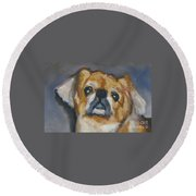 Sad Eyes In Halifax Round Beach Towel