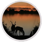 South African Sunset Round Beach Towel