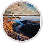 Sunset On The Marker Round Beach Towel