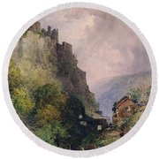 The Castle Of Katz On The Rhine Round Beach Towel