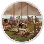 The Sheep Shearing Match Round Beach Towel