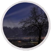 Tree And Snow-capped Mountain Round Beach Towel