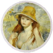 Young Girl With A Straw Hat Round Beach Towel