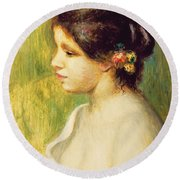 Young Woman With Flowers At Her Ear Round Beach Towel