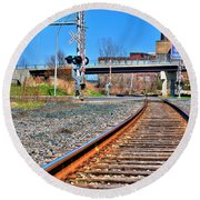 0001 Train Tracks Round Beach Towel