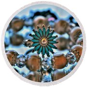 0001 Turquoise And Pearls Round Beach Towel