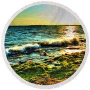 00015 Windy Waves Sunset Rays Round Beach Towel