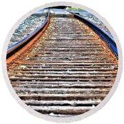 0002 Train Tracks Round Beach Towel