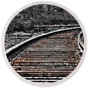 0003 Train Tracks Round Beach Towel