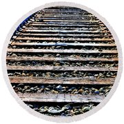 0004 Train Tracks  Round Beach Towel