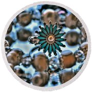 0004 Turquoise And Pearls Round Beach Towel