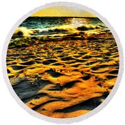 0008 Windy Waves Sunset Rays Round Beach Towel