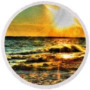 0009 Windy Waves Sunset Rays Round Beach Towel