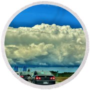 001 Grand Island Bridge Series  Round Beach Towel