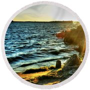 001 Natures Therapeutic Visual Music Series Round Beach Towel