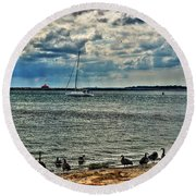 001 On A Summers Day  Erie Basin Marina Summer Series Round Beach Towel
