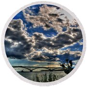 001 Peace Bridge Series II Beautiful Skies Round Beach Towel