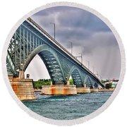 001 Stormy Skies Peace Bridge Series Round Beach Towel