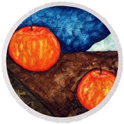 Still Life With Apples I Round Beach Towel