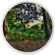 002 Bat Homes Round Beach Towel