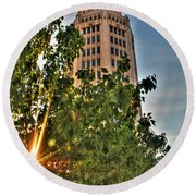 002 Electric Tower At Sunrise  Round Beach Towel