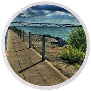 002 Peace Bridge Series II Beautiful Skies Round Beach Towel