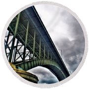 002 Stormy Skies Peace Bridge Series Round Beach Towel