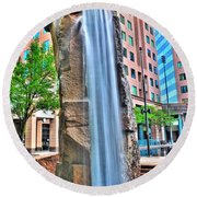 003 Fountain Plaza  Round Beach Towel