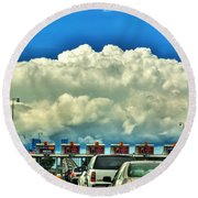 003 Grand Island Bridge Series  Round Beach Towel