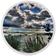 003 Peace Bridge Series II Beautiful Skies Round Beach Towel