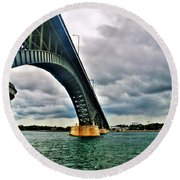 003 Stormy Skies Peace Bridge Series Round Beach Towel