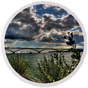 004 Peace Bridge Series II Beautiful Skies Round Beach Towel