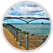 004 Stormy Skies Peace Bridge Series Round Beach Towel