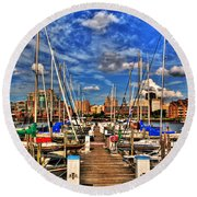 005 On A Summers Day  Erie Basin Marina Summer Series Round Beach Towel